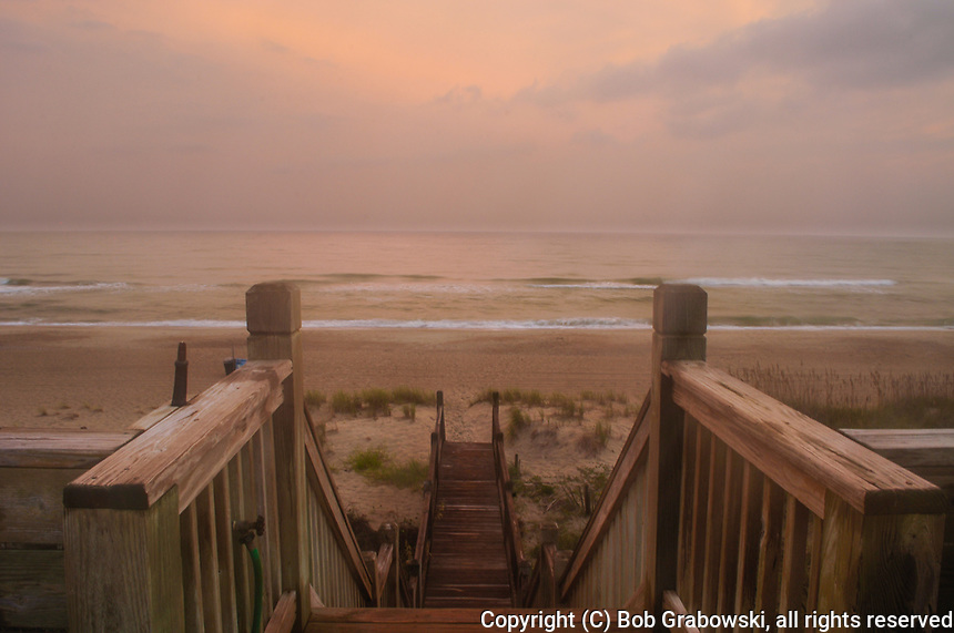 Sunrise on a rainy morning at Emerald Isle in the Outer Banks in North Carolina