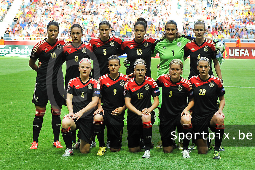 20130728 - Solna , Sweden : German Team pictured during the female soccer match between Germany and Norway , in the final of the UEFA Women's Euro Championship 2013  at the Friends Arena  , Solna Stockholm . Sunday 28th July 2013. PHOTO DAVID CATRY