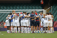 GB players huddle after the final whistle - Great Britain Women vs New Zealand Women - Womens Olympic Football Tournament London 2012 Group E at the Millenium Stadium, Cardiff, Wales - 25/07/12 - MANDATORY CREDIT: Gavin Ellis/SHEKICKS/TGSPHOTO - Self billing applies where appropriate - 0845 094 6026 - contact@tgsphoto.co.uk - NO UNPAID USE.