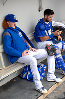 Rancho Cucamonga Quakes Dustin May (36) and Steve Berman (29) in the dugout between innings of the game against the Visalia Rawhide at LoanMart Field on May 14, 2018 in Rancho Cucamonga, California. The Rawhide defeated the Quakes 5-0.  (Donn Parris/Four Seam Images)