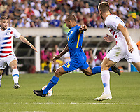 PHILADELPHIA, PA - JUNE 30: Gino Van Kessel #16 shoots the ball during a game between Curaçao and USMNT at Lincoln Financial Field on June 30, 2019 in Philadelphia, Pennsylvania.
