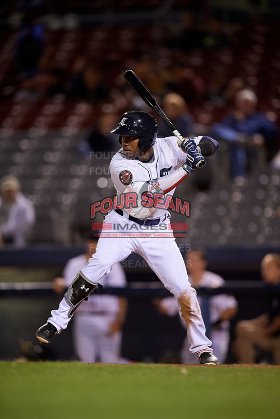 Connecticut Tigers third baseman Alexis Garcia (30) at bat during a game against the Hudson Valley Renegades on August 20, 2018 at Dodd Stadium in Norwich, Connecticut.  Hudson Valley defeated Connecticut 3-1.  (Mike Janes/Four Seam Images)