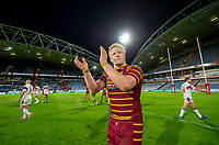 Picture by Allan McKenzie/SWpix.com - 11/05/2018 - Rugby League - Ladbrokes Challenge Cup - Huddersfield Giants v Wakefield Trinity - John Smith's Stadium, Huddersfield, England - Huddersfield's Man of the Match Matty English thanks the fans for their support after victory over Wakefield.