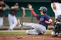 Lowell Spinners shortstop Grant Williams (11) slides home safely during a game against the Batavia Muckdogs on July 14, 2018 at Dwyer Stadium in Batavia, New York.  Lowell defeated Batavia 8-4.  (Mike Janes/Four Seam Images)