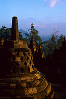 Borobudur temple and Merapi volcano, Java, Indonesia, 2002