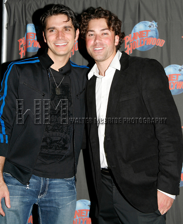 Derek Keeling & Ace Young attend American Idol Heartthrob Ace Young after making his Broadway Debut in the Broadway Revival of GREASE at the Brooks Atkinson Theatre presented Planet Hollywood Times Square with a T - Bird Leather Jacket as a donation to the new Broadway Memorabilia Museum in New York City.<br />September 11, 2008