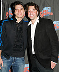 Derek Keeling & Ace Young attend American Idol Heartthrob Ace Young after making his Broadway Debut in the Broadway Revival of GREASE at the Brooks Atkinson Theatre presented Planet Hollywood Times Square with a T - Bird Leather Jacket as a donation to the new Broadway Memorabilia Museum in New York City.<br />