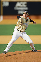 Wake Forest Demon Deacons starting pitcher Max Tishman (34) in action against the Marshall Thundering Herd at Wake Forest Baseball Park on February 17, 2014 in Winston-Salem, North Carolina.  The Demon Deacons defeated the Thundering Herd 4-3.  (Brian Westerholt/Four Seam Images)