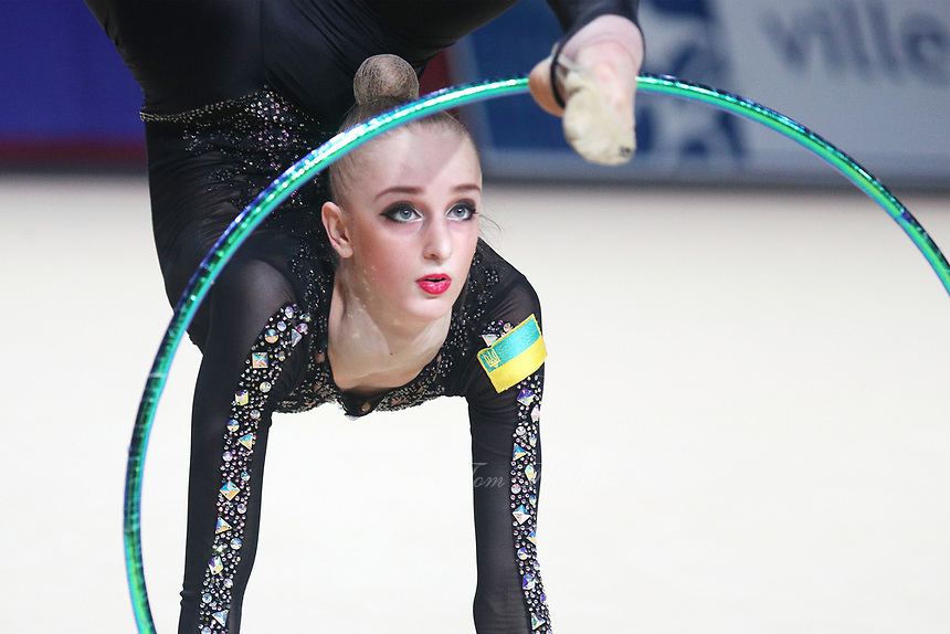 Olena Diachenko of Ukraine performs at Thiais Grand Prix on March 25, 2018.