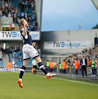 GOAL - Millwall's Aiden O'Brien jumps for joy during the Sky Bet Championship match between Millwall and Ipswich Town at The Den, London, England on 15 August 2017. Photo by Carlton Myrie.
