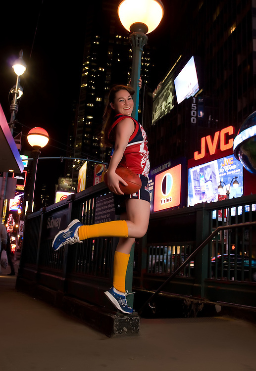 NEW YORK - FEBRUARY 5:  Christina Licata of Team Freedom, the Official Womens American League of the Austrialian League Footy Team, poses in Times Square February 5, 2009 in New York City. (Photo by Donald Bowers)