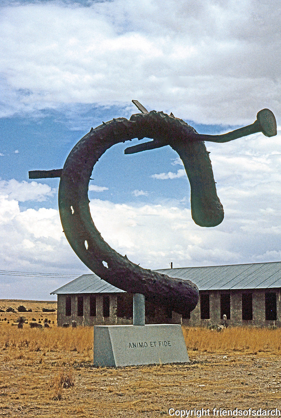"""Marfa:  Sculpture by Claes Oldenburg, 1991. """"Monument to the Last Horse"""". Chinati Foundation. Photo '96."""