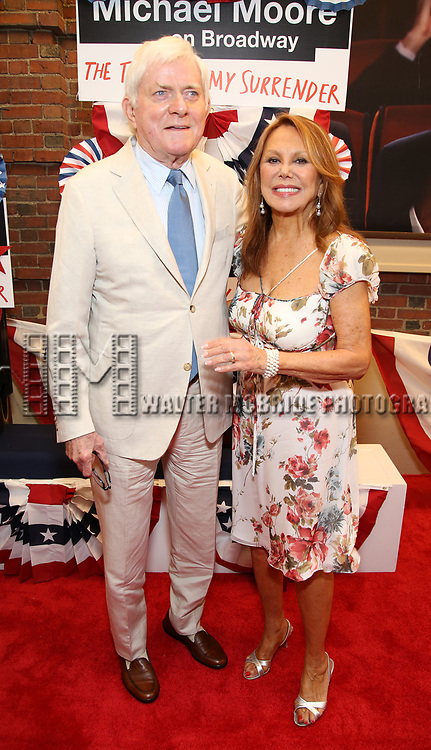 Phil Donahue and Marlo Thomas attend the Broadway Opening Night Performance for 'Michael Moore on Broadway' at the Belasco Theatre on August 10, 2017 in New York City.