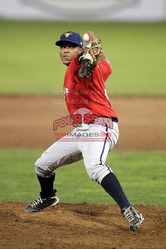 State College Spikes pitcher Fraylin Campos #35 during a game against the Batavia Muckdogs at Dwyer Stadium on July 7, 2011 in Batavia, New York.  Batavia defeated State College 16-3.  (Mike Janes/Four Seam Images)