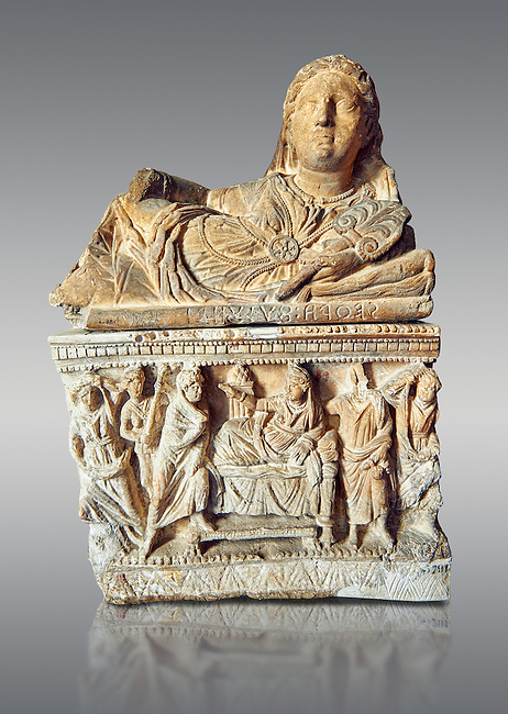 Etruscan Hellenistic style cinerary, funreary, urn ,  National Archaeological Museum Florence, Italy , against grey