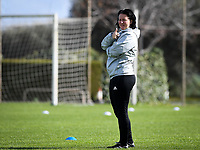20190226 - LARNACA , CYPRUS :  Belgian assistant coach Tamara Cassimon pictured during a Matchday -1 training from The Belgian Red Flames prior to their game against the women team of Slovakia , on Tuesday 26 February 2019 at the Alpha Sports Grounds in Larnaca , Cyprus . This will be the first game in group C for Belgium during the Cyprus Womens Cup 2019 , a prestigious women soccer tournament as a preparation on the European Championship 2021 qualification duels. PHOTO SPORTPIX.BE | DAVID CATRY
