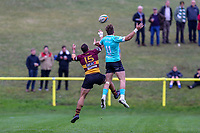 Karim Lynch of Ampthill Rugby and Foley of Nottingham Rugby during the Greene King IPA Championship match between Ampthill RUFC and Nottingham Rugby on Ampthill Rugby's Championship Debut at Dillingham Park, Woburn St, Ampthill, Bedford MK45 2HX, United Kingdom on 12 October 2019. Photo by David Horn.