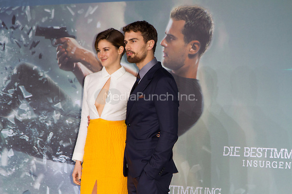 Shailene Woodley and Theo James attending the Insurgent premiere, held at CineStar, Sony Center, Berlin, Germany, 13.03.2015. <br /> Photo by Christopher Tamcke/insight media /MediaPunch ***FOR USA ONLY***