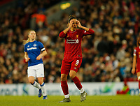 17th November 2019; Anfield, Liverpool, Merseyside, England; Womens Super League Footballl, Liverpool Women versus Everton; Courtney Sweetman-Kirk of Liverpool FC Women reacts after her shot shaves the goal post - Editorial Use