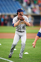 Burlington Bees pitcher Adam Hofacket (15) throws in the outfield before a game against the Quad Cities River Bandits on May 9, 2016 at Modern Woodmen Park in Davenport, Iowa.  Quad Cities defeated Burlington 12-4.  (Mike Janes/Four Seam Images)
