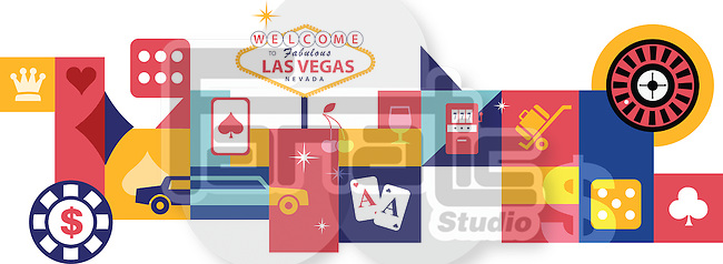 Illustrative collage of casino at Las Vegas, USA