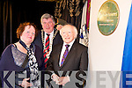 President Michael D Higgins pictured with Yvonne Quill, Killarney Tidy Towns chairperson and Cllr Sean Counihan, Killarney Mayor, after he unveiled a plaque commemorating Killarneys victory in the 2011 Tidy Towns competition, on Saturday.