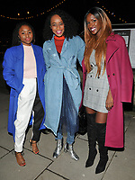 Tinea Taylor, Annaliese Dayes and Sarah Mulindwa at the Mark Hill haircare brand launch party ahead of the International Woman's Day, MV Hispaniola, Victoria Embankment, London, England, UK, on Wednesday 07 March 2018.<br /> CAP/CAN<br /> &copy;CAN/Capital Pictures