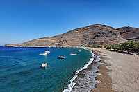 Pisses is famous for its superb sandy beach and crystal clear waters in Kea, Greece