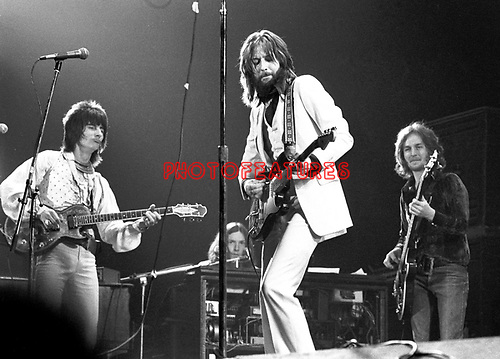 Eric Clapton 1973  Rainbow Theatre In London in 70's here with Ron Wood and Ric Grech<br /> &copy; Chris Walter