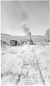 #268 switching and picking up strays - Sapinero.  Track weel overgrown with grass.<br /> D&amp;RGW  Sapinero Branch, CO  Taken by Richardson, Robert W. - 10/9/1953