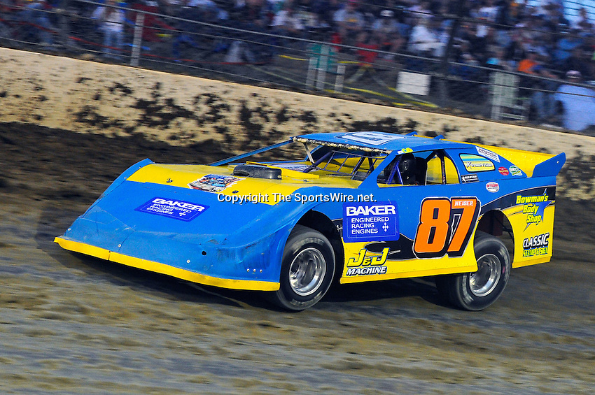 Sep 10, 2010; 8:02:55 PM; Rossburg, OH., USA; The 40th annual running of the World 100 Dirt Late Models racing for the Globe trophy at the Eldora Speedway.  Mandatory Credit: (thesportswire.net)