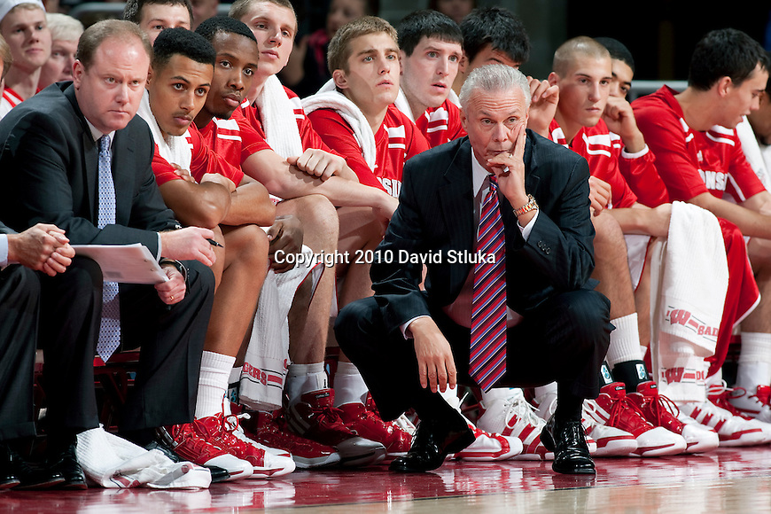 Wisconsin Badgers head coach Bo Ryan looks on with his team during an NCAA college basketball game against the North Dakota Fighting Sioux at the Kohl Center in Madison, Wisconsin on November 16, 2010. Wisconsin won 85-53. (Photo by David Stluka)