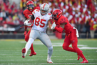 College Park, MD - NOV 12, 2016: Ohio State Buckeyes tight end Marcus Baugh (85) is pushed out of bounds during game between Maryland and Ohio State at Capital One Field at Maryland Stadium in College Park, MD. (Photo by Phil Peters/Media Images International)