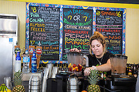 French Quarter, New Orleans, Louisiana.  A Smoothie Juice Bar, the Organic banana, in the French Market.