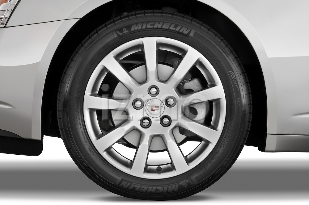 Tire and wheel close up detail view of a 2008 Cadillac CTS sedan