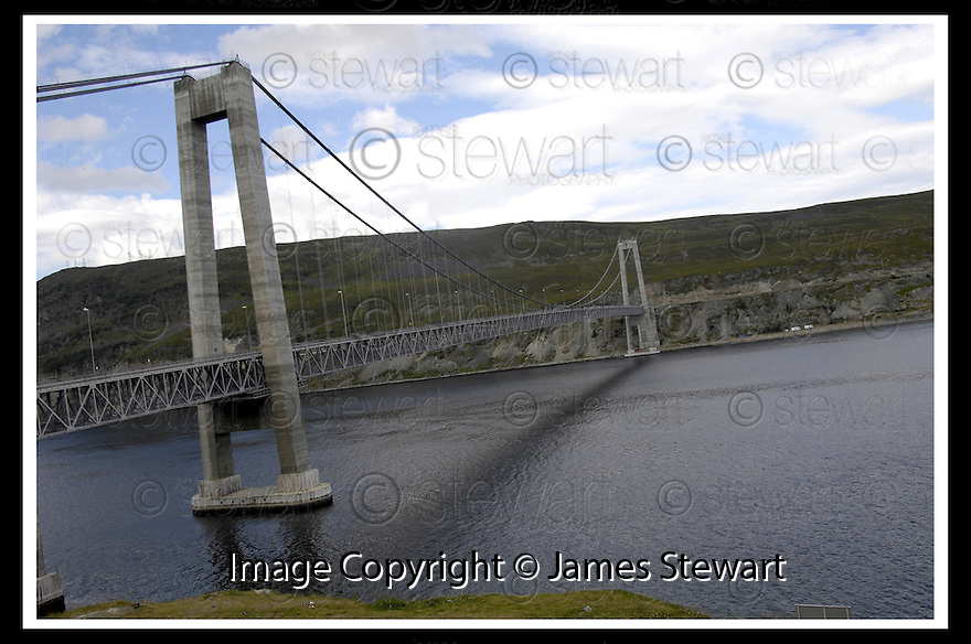 31/07/2007       Copyright Pic: James Stewart.File Name : sct_jspa37_hammerfest.KVALSUND, NORWAY, THE LOCATION OF THE PROTOTYPE TIDAL TURBINE.... THE TURBINE IS 70 METRES BELOW THE WATER LINE JUST TO THIS SIDE OF THE BRIDGE....James Stewart Photo Agency 19 Carronlea Drive, Falkirk. FK2 8DN      Vat Reg No. 607 6932 25.Office     : +44 (0)1324 570906     .Mobile   : +44 (0)7721 416997.Fax         : +44 (0)1324 570906.E-mail  :  jim@jspa.co.uk.If you require further information then contact Jim Stewart on any of the numbers above........