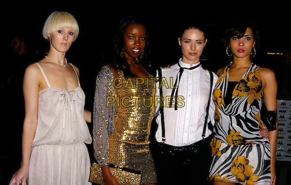 JASMIA - BRITAIN'S NEXT TOP MODEL.MOBO Awards 2006, Royal Albert Hall, London, UK.September 20th, 2006.Ref: CAN.Mobos half length white balck yellow floral print dress contestants gold dress.www.capitalpictures.com.sales@capitalpictures.com.©Can Nguyen/Capital Pictures.
