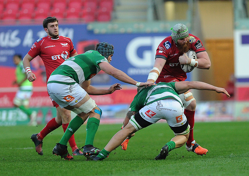 Scarlets' Jake Ball is tackled by Benetton Treviso's Marco Lazzaroni<br /> <br /> Photographer Ashley Crowden/CameraSport<br /> <br /> Guinness PRO12 Round 19 - Scarlets v Benetton Treviso - Saturday 8th April 2017 - Parc y Scarlets - Llanelli, Wales<br /> <br /> World Copyright &copy; 2017 CameraSport. All rights reserved. 43 Linden Ave. Countesthorpe. Leicester. England. LE8 5PG - Tel: +44 (0) 116 277 4147 - admin@camerasport.com - www.camerasport.com