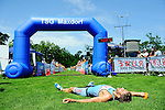 GER - Maxdorf, Germany, June 14: Michael Maerz #2 (LLG Wonnegau / ROWE Sports) lies on the ground after finishing second at the 12. Maxdorfer Triathlon on June 14, 2015 at TSG Maxdorf in Maxdorf, Germany. (Photo by Dirk Markgraf / www.265-images.com) *** Local caption ***