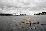 Kayakers paddling on Lake Union in Seattle, Washington.