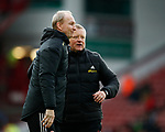 Chris Wilder manager of Sheffield Utd pushes forward Alan Knill Assistant manager of Sheffield Utd to take the applause during the Premier League match at Bramall Lane, Sheffield. Picture date: 7th March 2020. Picture credit should read: Simon Bellis/Sportimage