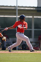 Boston Red Sox Rafael Devers (12) during a minor league spring training game against the Baltimore Orioles on March 18, 2015 at Buck O'Neil Complex in Sarasota, Florida.  (Mike Janes/Four Seam Images)
