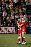 McCall Zerboni (7) of the Western New York Flash is congratulated by teammate Brittany Bock (21) after her second half goal. The Western New York Flash defeated the magicJack 3-1 in Women's Professional Soccer (WPS) at Sahlen's Stadium in Rochester, NY July 20, 2011.