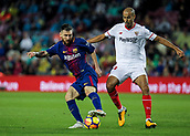 4th November 2017, Camp Nou, Barcelona, Spain; La Liga football, Barcelona versus Sevilla; Leo Messi of FC Barcelona against Pizarro of Sevilla;