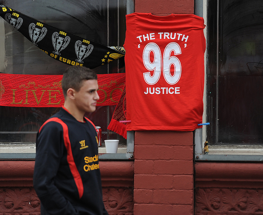 A t-shirt for sale in memory of the 1989 Hillsborough disaster outside Anfield, the home of Liverpool FC..Football - Barclays Premiership - Liverpool v Manchester United - Sunday 23rd September 2012 - Anfield - Liverpool..