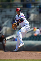 Winston-Salem Rayados starting pitcher Jorgan Cavanerio (36) in action against the Lynchburg Hillcats at BB&T Ballpark on June 23, 2019 in Winston-Salem, North Carolina. The Hillcats defeated the Rayados 12-9 in 11 innings. (Brian Westerholt/Four Seam Images)