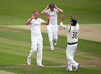 PICTURE BY VAUGHN RIDLEY/SWPIX.COM - Cricket - County Championship, Div 2 - Yorkshire v Northamptonshire, Day 1  - Headingley, Leeds, England - 20/05/12 - Yorkshire's Steve Patterson celebrates the wicket of Northamptonshire's James Middlebrook.