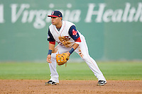 Shortstop Ryan Dent #22 of the Salem Red Sox on defense against the Kinston Indians at Lewis-Gale Field May 1, 2010, in Winston-Salem, North Carolina.  Photo by Brian Westerholt / Four Seam Images