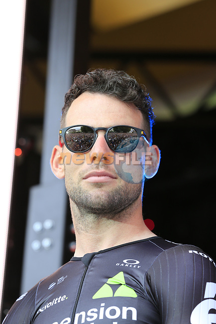 Mark Cavendish (GBR) Team Dimension Data on stage at the Team Presentation in Burgplatz Dusseldorf before the 104th edition of the Tour de France 2017, Dusseldorf, Germany. 29th June 2017.<br /> Picture: Eoin Clarke | Cyclefile<br /> <br /> <br /> All photos usage must carry mandatory copyright credit (&copy; Cyclefile | Eoin Clarke)