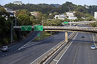 Wellington SH1 urban motorway at 9am, Friday during Level 3 lockdown for the COVID-19 pandemic in Wellington, New Zealand on Friday, 1 May 2020. Photo: Dave Lintott / lintottphoto.co.nz